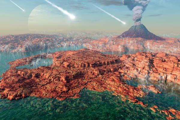 Арт-реконстркция первичной Земли: метеориты, древний океан с первичным бульоном.