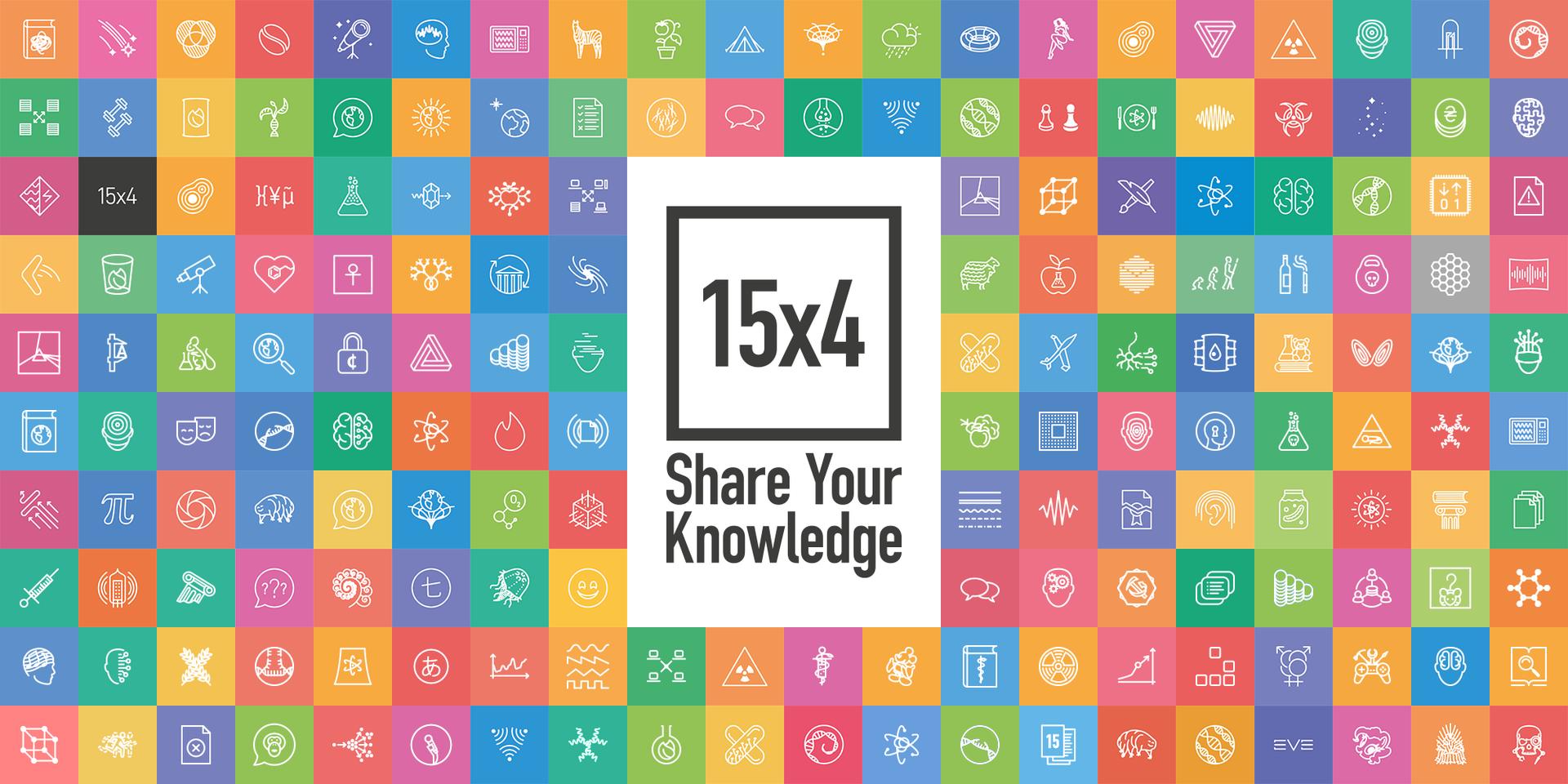На картинке 176 разноцветных квадратиков с пиктограммами лекций. Посередине 15x4 Share Your Knowledge.