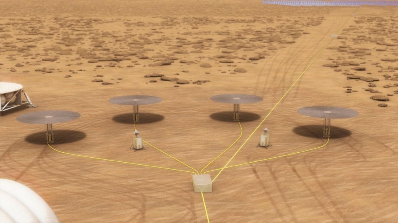 Отличная иллюстрация, демонстрирующая, как может выглядеть мини-АЭС на Марсе. Проблема только в том, что 4 реактора будут давать в 4 раза больше радиоактивных отходов, чем один