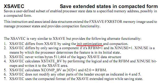 XSAVEC, Extended Save with Compaction
