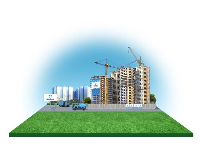 Gras, Asphalt, die erste Linie von Neubauten, die zweite Linie von Anlagen im Bau, Ausrüstung, Brandmauer.