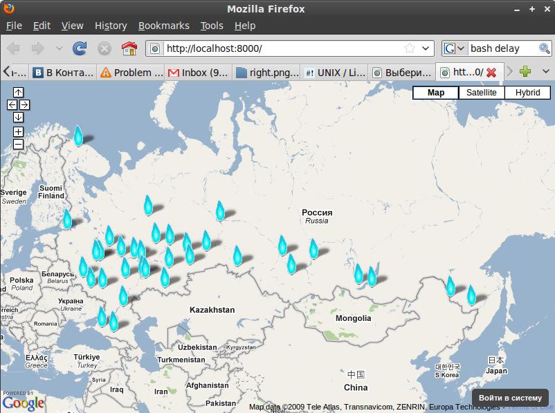Karte der Download-Sites