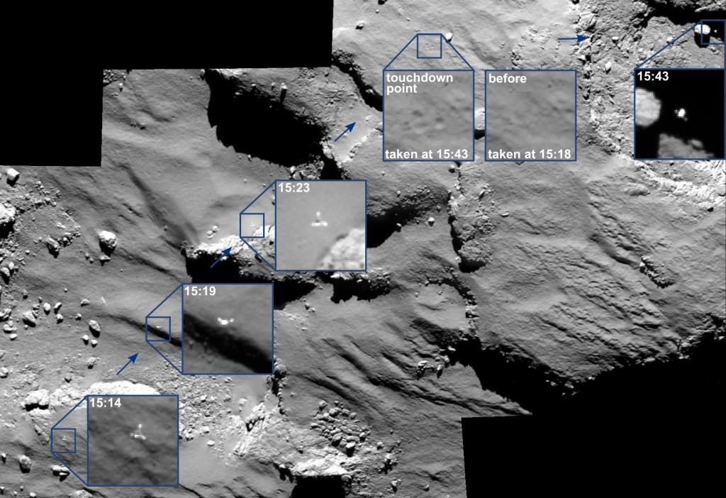 Розетта получила снимки точек приземления зонда Philae