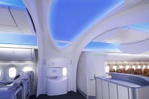 Пассажирский вход на макете интерьера Боинга 787