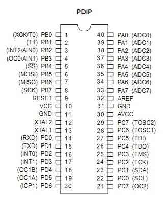 схема портов i/o atmega16