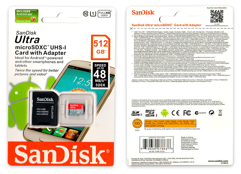 Подделка на Sandisk Ultra 512GB Micro SD
