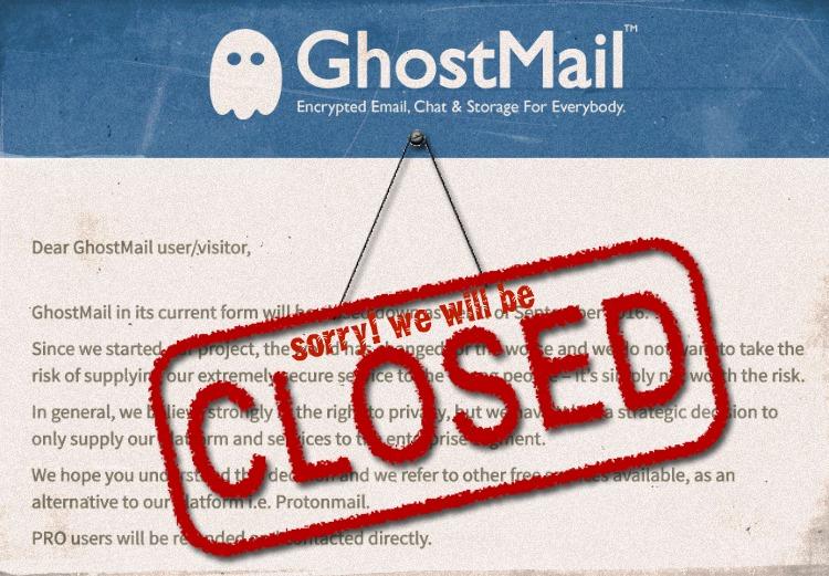 Сверхзащищенный почтовый сервис GhostMail прекращает работать с обычными пользователями