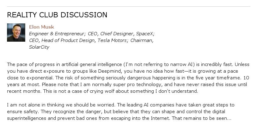 Илон Маск считает, что искусственный интеллект опасен для человечества