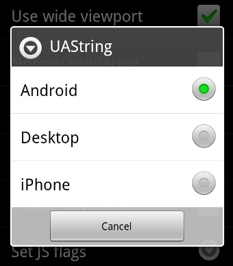 Android Useragent Selection