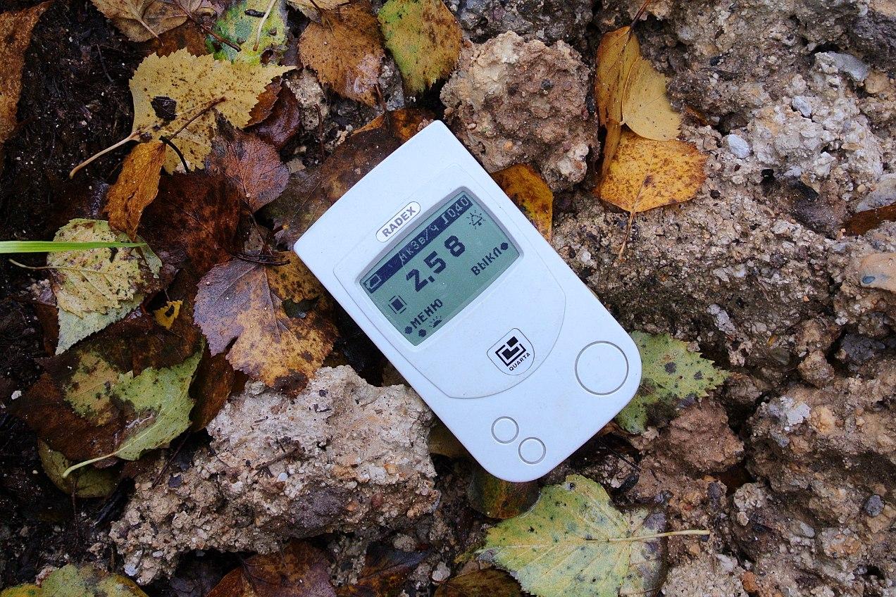 Индикатор радиоактивности на месте радиоактивного заражения