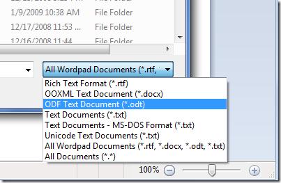 WordPad. Диалог открытия файлов - новые типы!