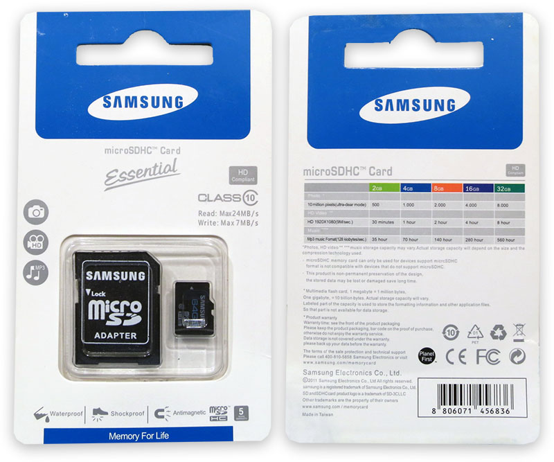 Подделка на Samsung Essential 64GB Micro SD