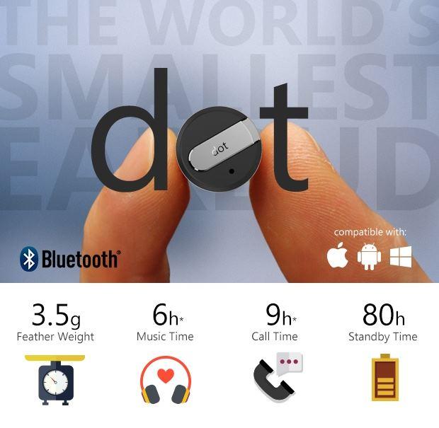 Dot: cамая маленькая в мире Bluetooth-гарнитура