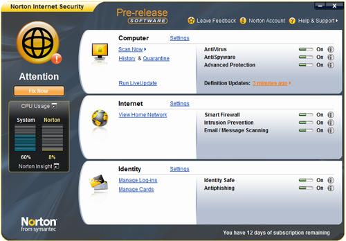 Интерфейс Norton Internet Security 2009