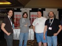Travis Heiselbrecht (in gray) with the Haiku team.