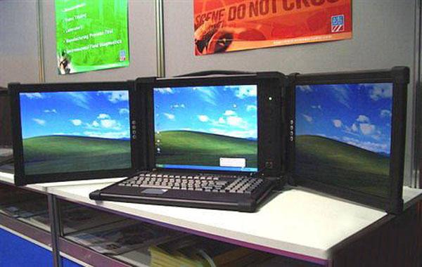 Ноутбук с тремя экранами, ноутбук с ушами