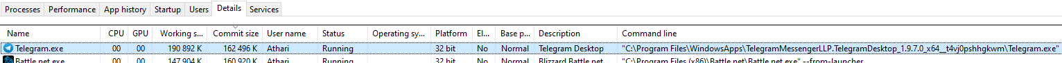 Working set: 191MB; Commit size: 162MB