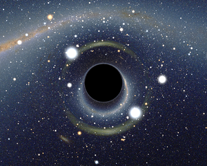 Simulated view of a black hole in front of the Large Magellanic Cloud - Wiki