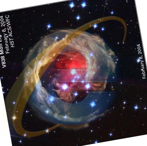V838 Monocerotis с наложенным логотипом Infernet Exploder-а