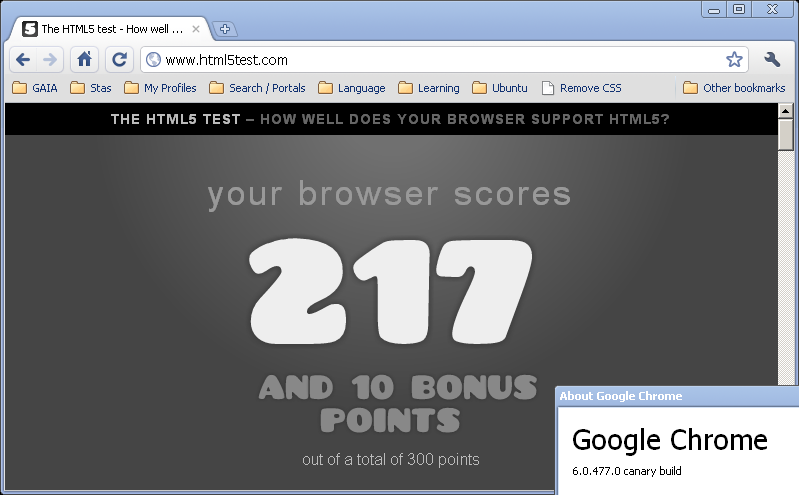 Google Chrome Canary build - HTML5test results