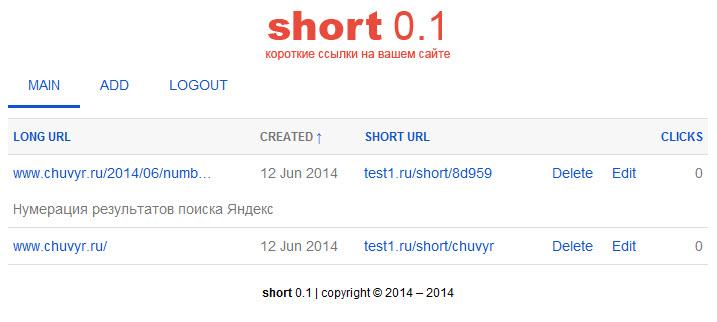 PHP-скрипт для сокращения ссылок - short