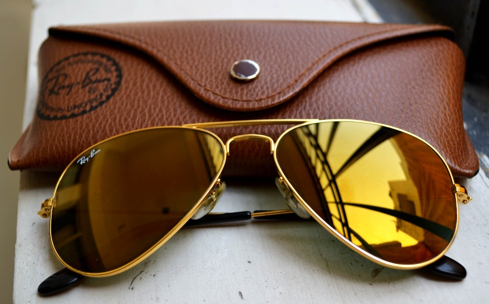 ray ban gold mirrored aviator sunglasses  ray ban gold mirrored aviators