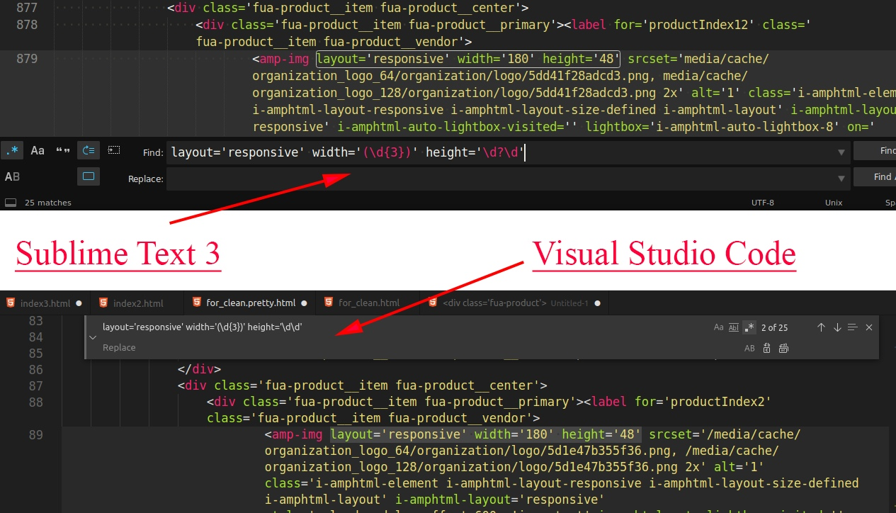 sublime text and vs code reg ex