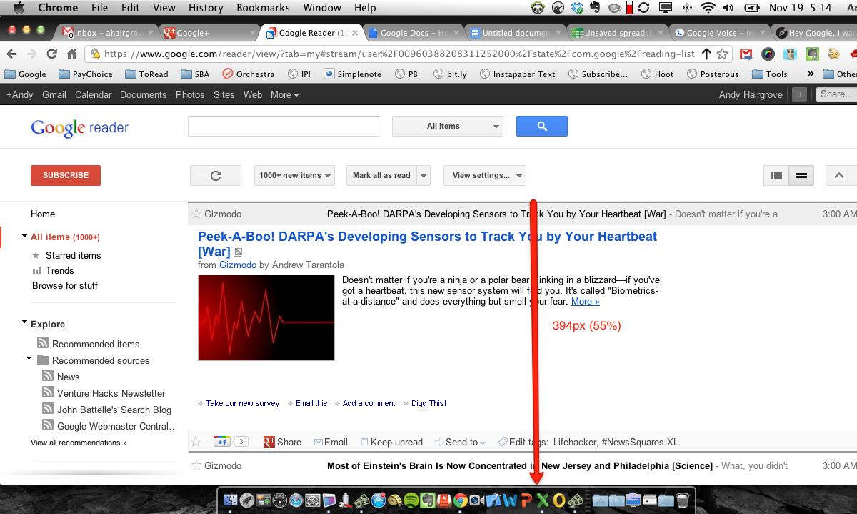 пример загромождённого интерфейса - Google Reader