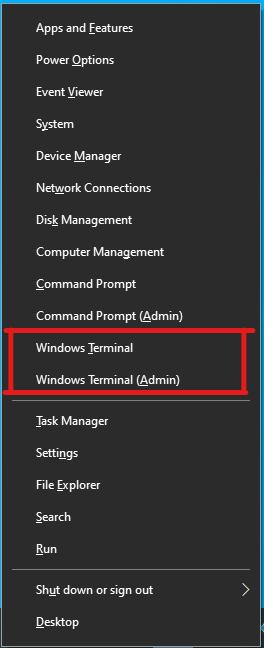 Windows Terminal в меню, вызываемом через Win+X