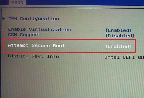 Image of a console with options for TPM Configuration: Enable virtualization [enabled], CSM Support [Disabled], Attempt Secure Boot [Enabled], Display Rev. Info - Intel UEFI...