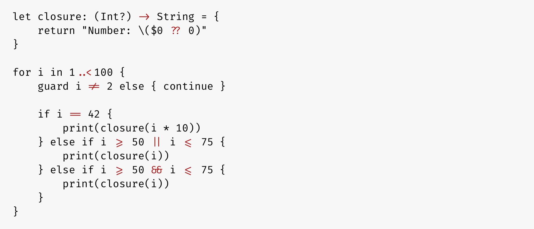 FiraCode in Swift