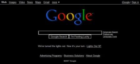 черная страница Google