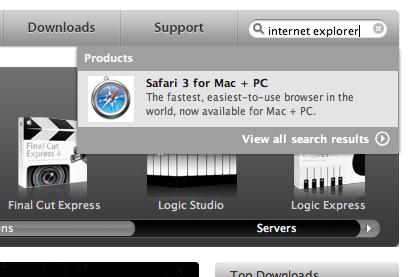 поиск internet explorer на сайте apple