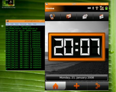 Первый экран OpenMoko