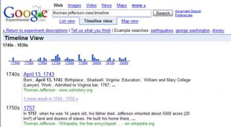 Google Experimantal: timeline