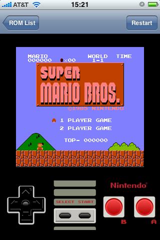 Скриншот NES эмулятора для Apple iPhone