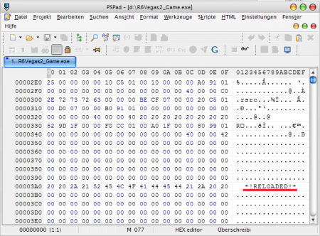 Снимок окна hex-редактора с надписью *RELOADED* в коде.