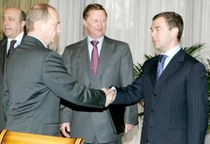 Владимир Владимирович с Сергеем Ивановым и Дмитрием Медведевым