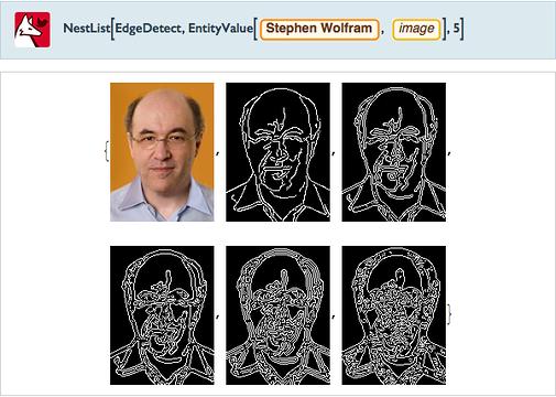 NestList[EdgeDetect,=[Stephen Wolfram image],5]