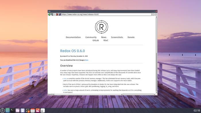 Операционная система Redox 0.6, написанная на Rust что нового в выпуске?