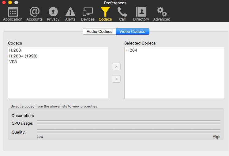 Використовувані відео кодеки для сервісу Zoom.us у Bria
