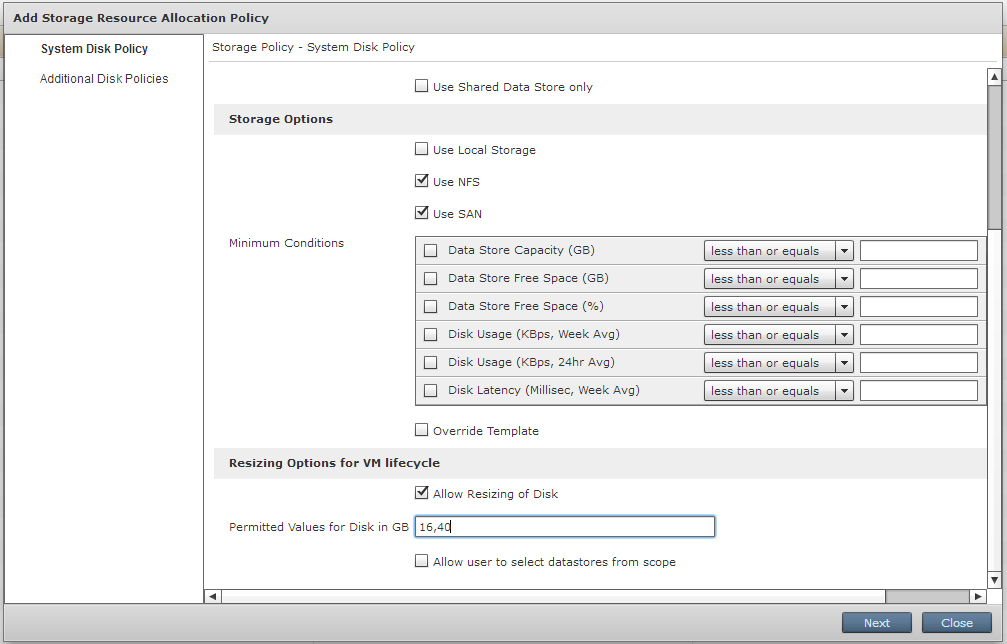 Setting options for Storage policy
