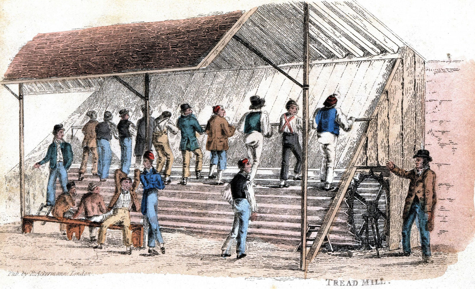 Inmates on a penal treadmill at Brixton prison in London, England,c.1827. (C) Photos.com/Jupiterimages
