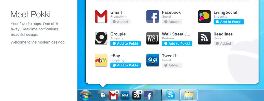 Pokki app screen