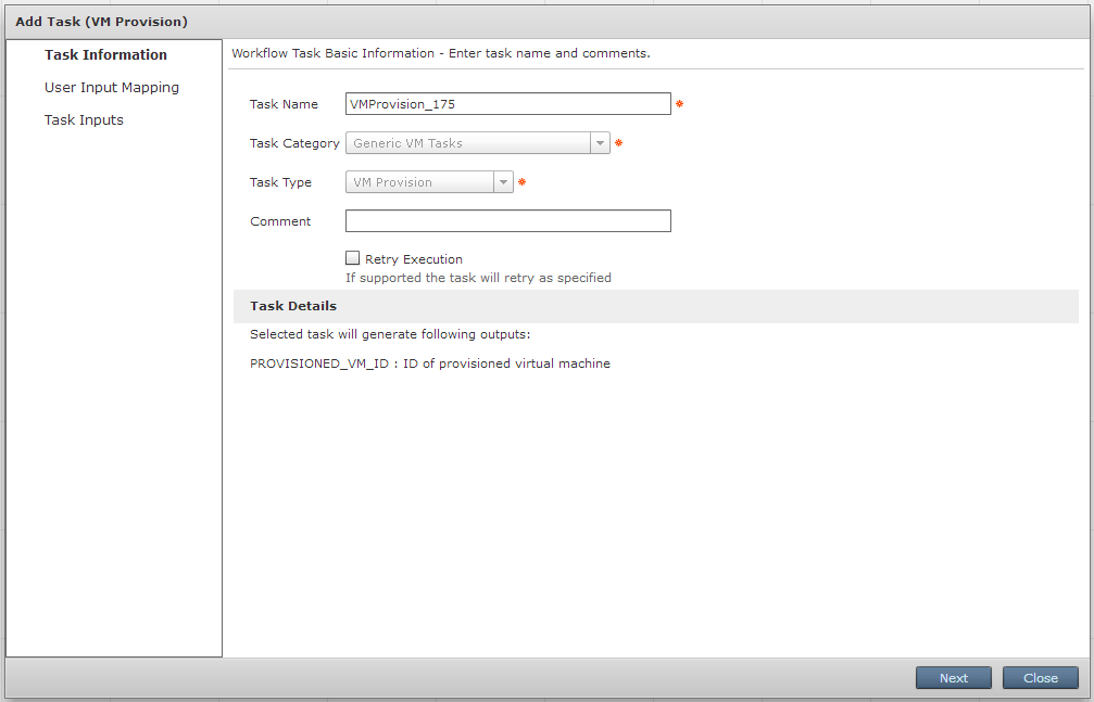 Task VM provision