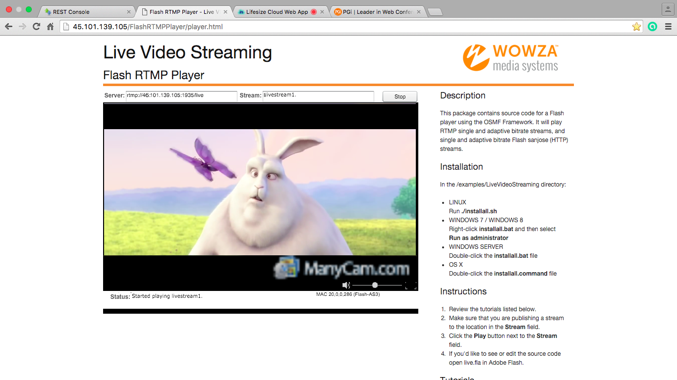 Трансляция от сервера потокового видео после обработки запроса от Web Call Server
