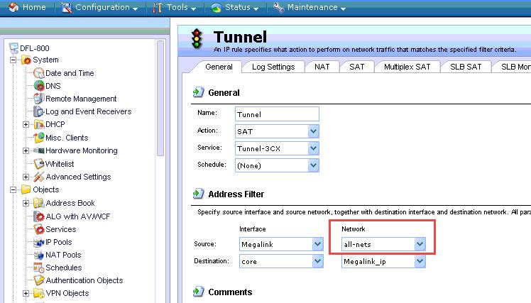 Параметри D-link DFL-260E/860E/1660/2560/2560G для роботи з 3CX Phone System. Визначення SAT правил для 3CX Tunnel.