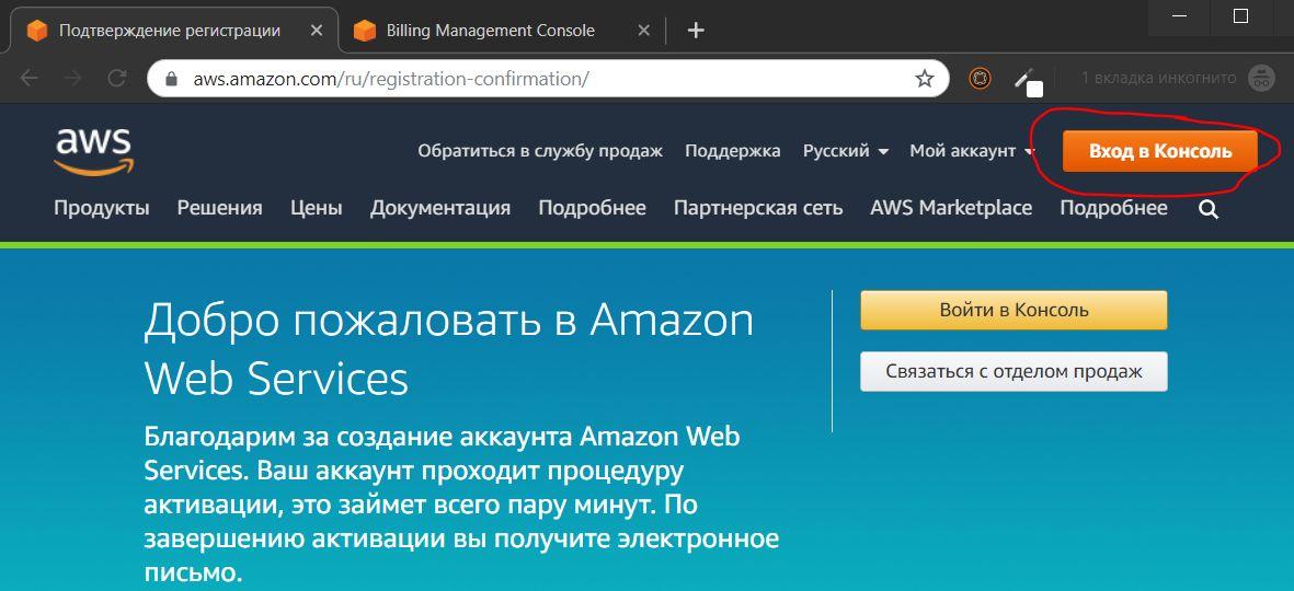 Вход в консоль управления AWS Amazon