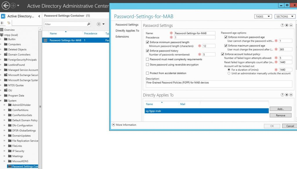 Fine-Grained Password Policies (FGPP) for MAB devices