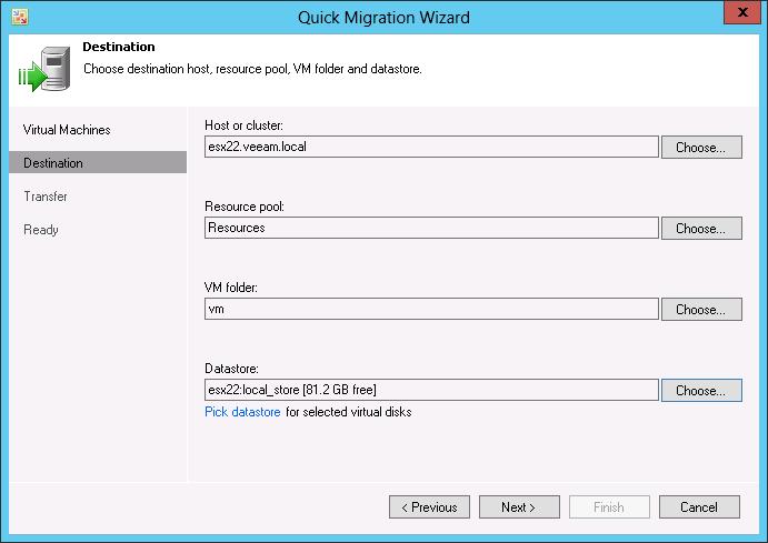 Фото 3. Миграция ВМ при помощи Quick Migration в Veeam Backup Free Edition v7